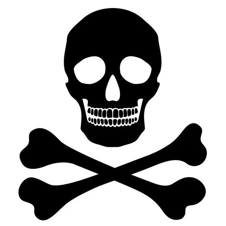 vector skull danger sign: Vector simple human skull with crossbones, danger sign, isolated black object Illustration