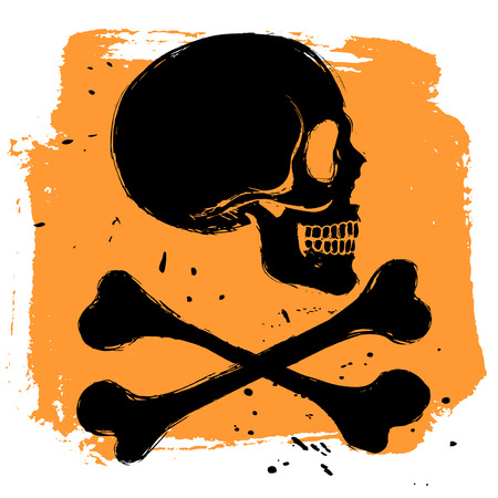 tibia: Danger sign on orange background in grunge style, side view skull and tibia crossbones Illustration