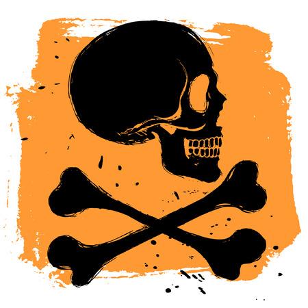 skull and cross bones: Danger sign on orange background in grunge style, side view skull and tibia crossbones Illustration