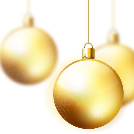 winter holiday: Oro palle di Natale; inverno decorazione vacanza sfondo; illustrazione vettoriale offuscata Vettoriali