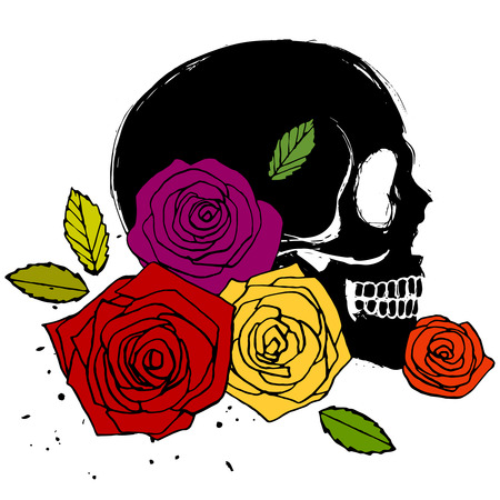 Side face human skull with colorful roses, isolated illustration in grunge style Vector