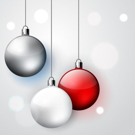 Three decoration Christmas balls, winter vector holidays hangingwhite, red and silver baubles