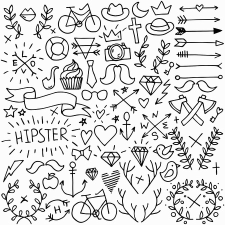 heart and crown: Big isolated black outline vector hipster set, doodle hand drawn modern elements collection