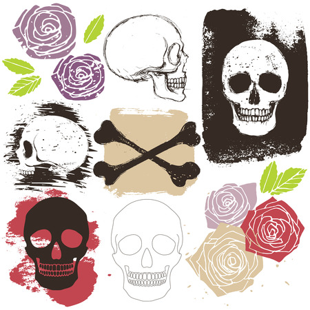 scheletro umano: Cranio Grandi, ossa incrociate e rosa fiori set stile grunge, vettore isolato oggetti e segni Vettoriali