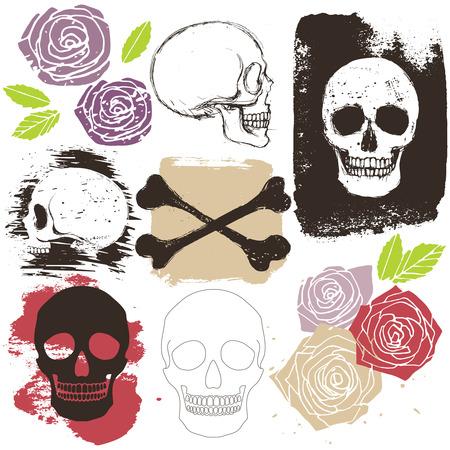 human skeleton: Grandes cráneo, bandera pirata y flor color de rosa conjunto de estilo grunge, objetos y signos aislados de vectores
