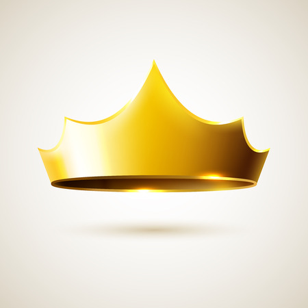 beauty queen: Gold vector realistic crown, leadership icon object