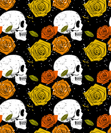 Orange side face skull and colorful rose seamless pattern, vector background illustration in  grunge style Vector