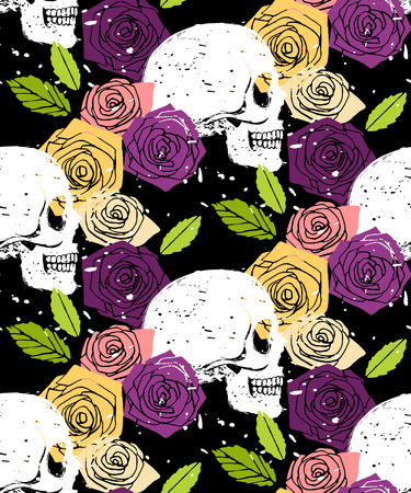 Side face white skull floral seamless background with colorful rose flowers, vector grunge style  pattern Vector