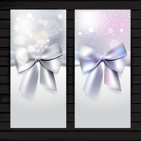 Holiday vertical banner with silver bow and ribbon; winter vector flyer template with snowflakes  and snow