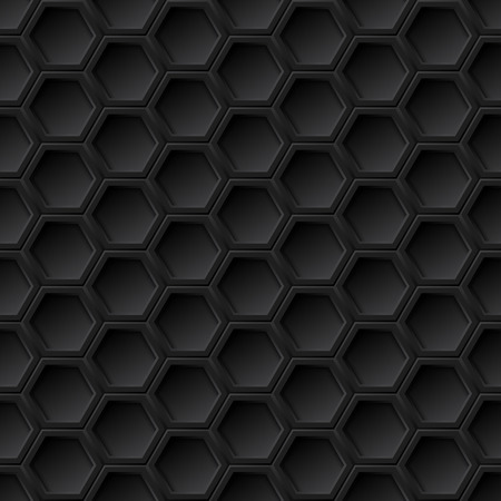 Black 3d grid seamless pattern, vector background