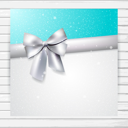 silver ribbon: Bright shiny blue and white card with silver ribbon and bow; vector invitation card template  with place for text