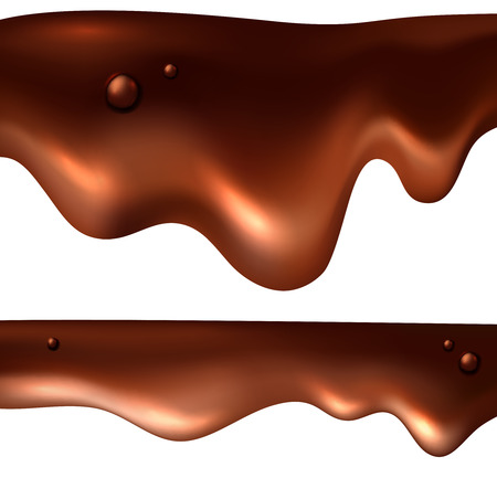 Chocolate realistic drip set; melted brown cocoa backdrop illustration; vector sweet food  background