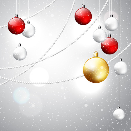 Christmas ornament shiny background, vector winter snowy holiday illustration with white, red and golden decorative balls