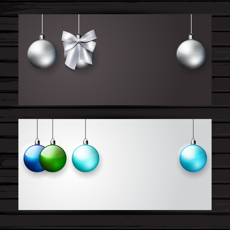 Christmas stylish banner set, dark gray and white color; vector flyer template with Christmas  balls and place for text Vector