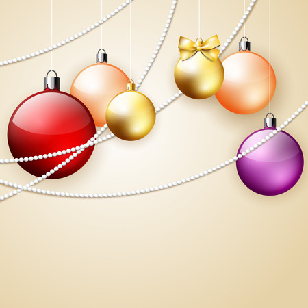 Christmas vector ornament background with colorful decorative balls and palce for text, vector  illustration