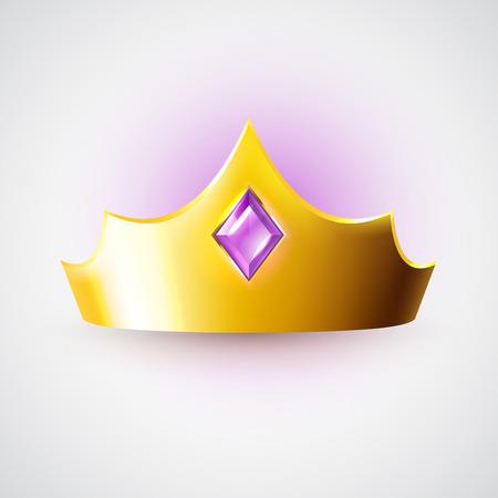 corona de reina: Corona real de oro con la gema p�rpura, s�mbolo del vector de la riqueza y los ricos