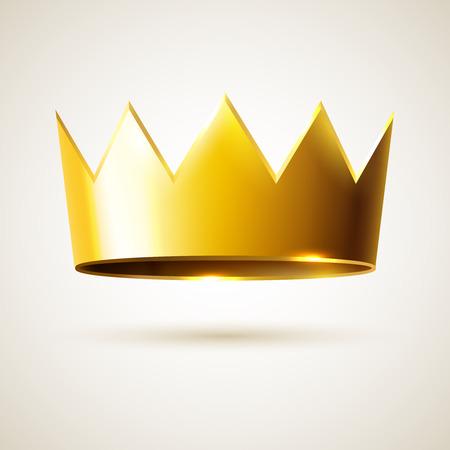 corona de reina: Corona de oro del rey, vector objeto realista de la monarqu�a, signo de �xito y liderazgo