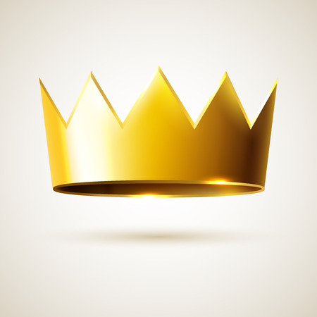 Kings golden crown, vector realistic object of monarchy, sign of success and leadership