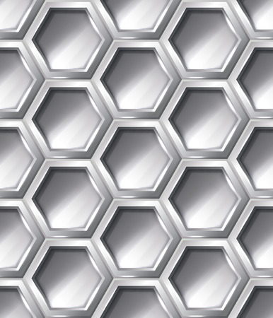 hexagonal pattern: Silver realistic hexagon seamless pattern, vector shiny metallic background