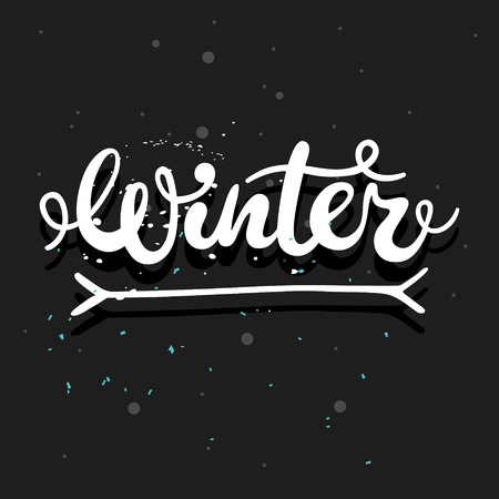 white winter: Winter hand written calligraphy word; white vector lettering on a dark background Illustration