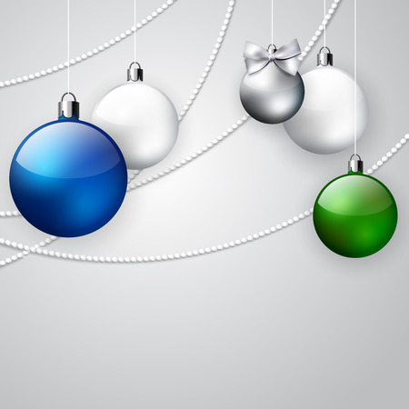 color balls: Christmas ornament background with blue, green and white balls; winter holiday illustration with  place for text, invitation card for New Year Illustration