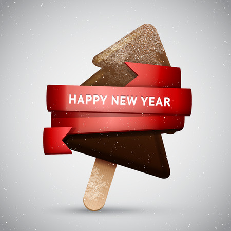 frosted: Chocolate Christmas tree ice creamon a stick with red ribbon, New Year frosted sweet vector icon