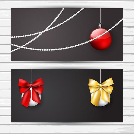 Kerst flyer donkere set met decoratie witte en rode Nalls en glanzend strikken; vector banner sjabloon met plaats voor tekst Stock Illustratie