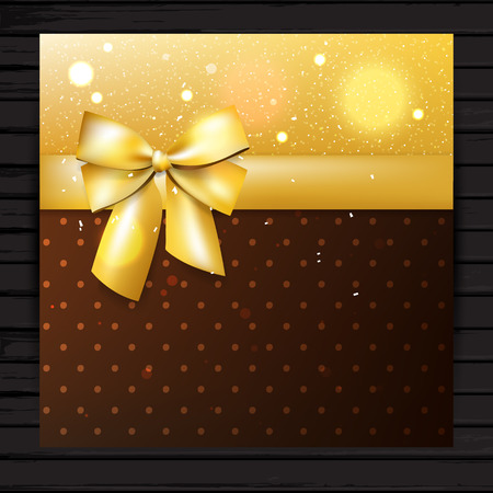 golden ribbon: Brown and gold colors square card with bow and ribbon, vector festive shiny banner