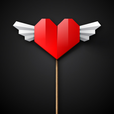 saint valentine's day: Red origami paper heart with white wings on a black background, vector illustration for Saint  Valentines Day