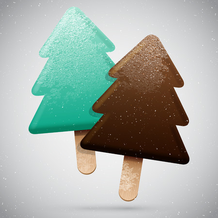 frosted: Two Christmas tree shaped frosted ice creams, vector delicious set, winter holiday food icon
