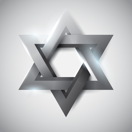 israel jerusalem: Gray star of David, vector religious symbol