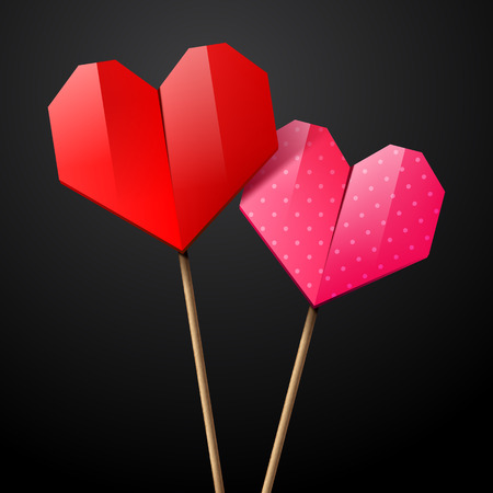 saint valentine's day: Red and pink paper origami hearts on a sticks for Saint Valentines day, vector illustration