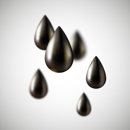 fossil: Gotas de aceite negro, f�siles naturales Vectores