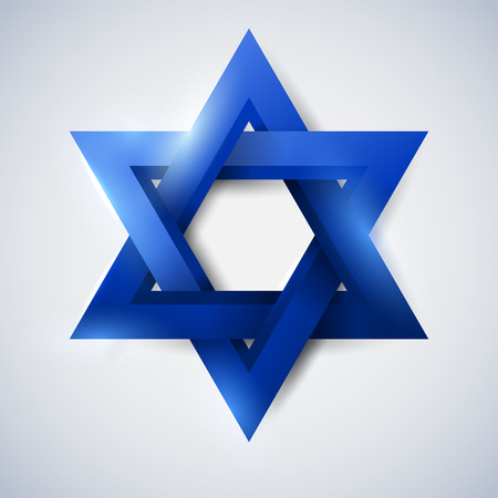 Blue star of David, Magen David, vector religious symbol