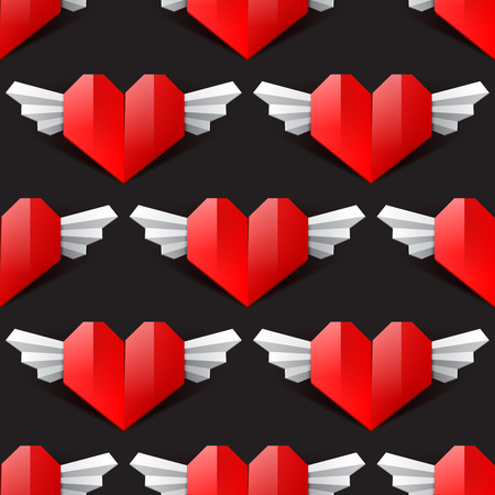 saint valentine's day: Heart seamless vector background, red paper origami heart with wings, pattern for Saint  Valentines Day