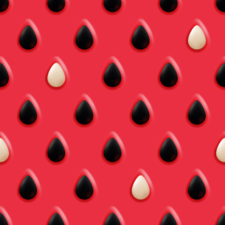watermelon juice: Realistic watermelon background with seeds, seamless vector bright pattern