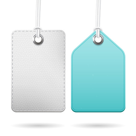 Empty isolated vector tags set, two different template hanging labels for price  or message Vector