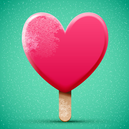 cream color: Pink chocolate heart shaped freeze ice cream, realistic bright 3d vector icon