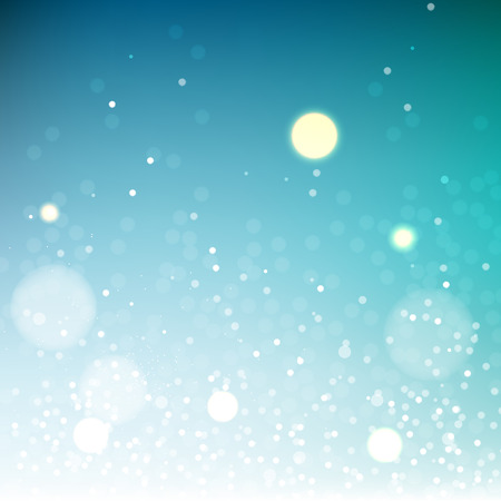 Blue shiny vector bokeh background, sky abstract backdrop Ilustração