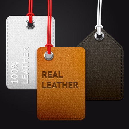 brown leather: Hanging real leather texture vector tags set, brown, black abd white labels on a  dark background
