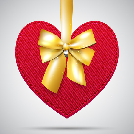 Red vector realistic fabric valentine heart with golden bow and ribbon Vector