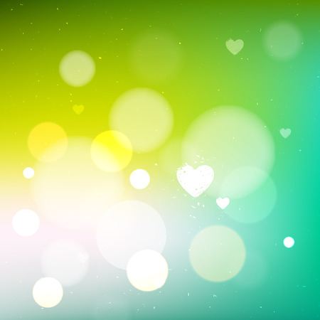 Green bokeh bright abstract background, vector design blurred backdrop with hearts Vector