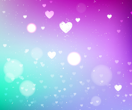 dusty: Bright purple and turquoise abstract dusty vector background with hearts