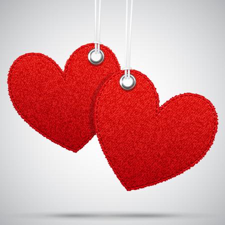 Twee vector opknoping realistische stof decoratie rode harten, geweven template romantische leeg ontwerp elementen voor Sint Valentijnsdag