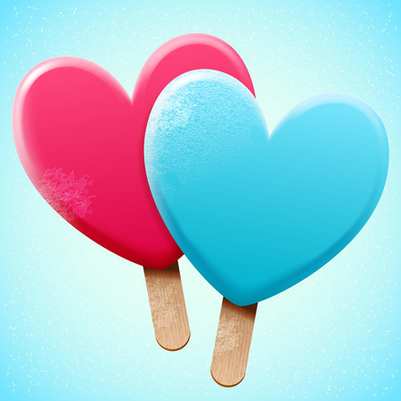wooden stick: Bright heart shaped ice cream on a wooden stick