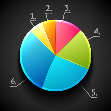 grafica de pastel: Gráfico circular brillante colorido Vectores