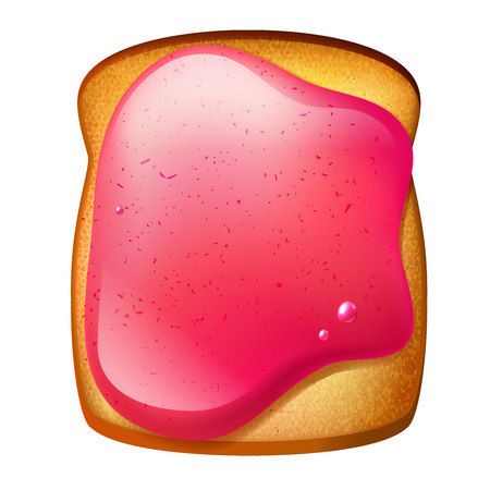 toasted bread: Isolated toast with strawberry jam Illustration