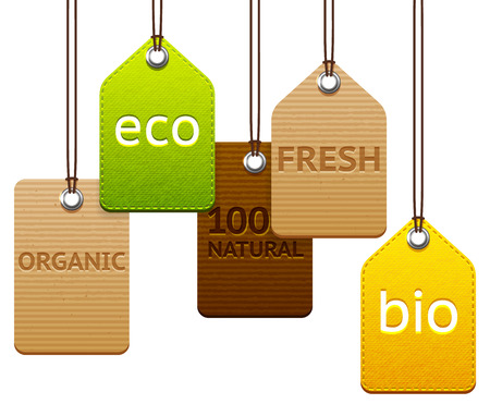 Set of different textured eco and organic labels
