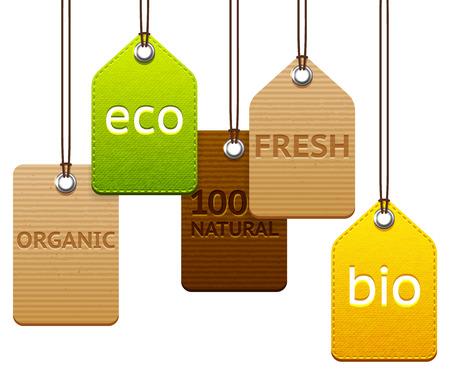 Set van verschillende getextureerde eco en biologische labels Stock Illustratie