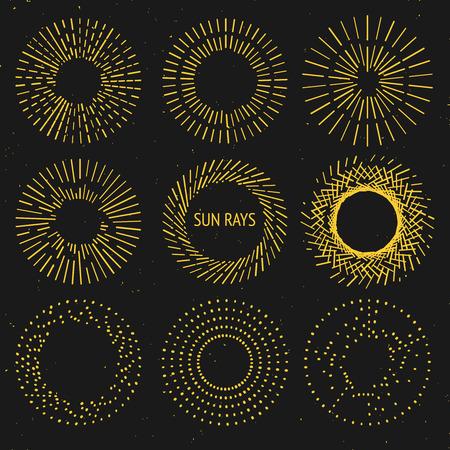 Zonnestralen set vintage sunburst Stock Illustratie